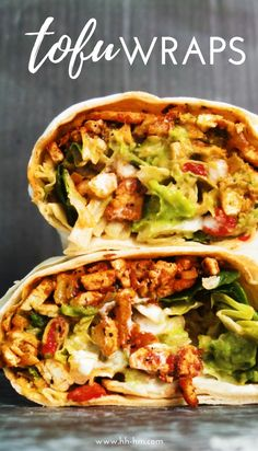 If youve never cooked with tofu and dont know what to do with it - make these delicious vegan wraps! Theyre healthy super flavorful easy dont take too long and are a great dinner option! Easy Vegan Dinner, Vegan Dinner Recipes, Good Healthy Recipes, Vegan Recipes Easy, Cooking Recipes, Spicy Tofu Recipes, Firm Tofu Recipes, Silken Tofu Recipes, Vegan Appetizers
