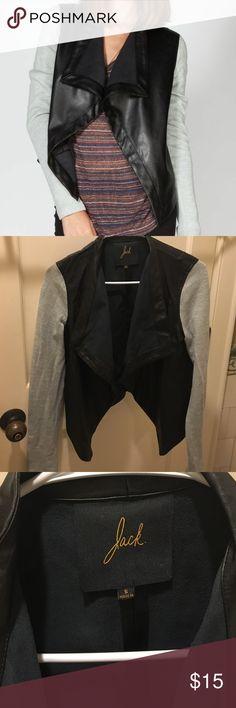 Jack by BB Dakota Faux Leather Blazer Jacket French terry sleeve // Faux leather jacket only worn a few times. Size small Jack by BB Dakota Jackets & Coats Blazers