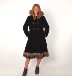 1960s Vintage Hooded Russian Princess Faux Fur Coat with Fur Trim Braided…