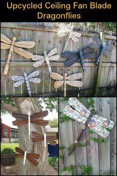 Fan Blade Dragonfly, Dragonfly Yard Art, Outdoor Crafts, Outdoor Decor, Diy Yard Decor, Yard Decorations, Fan Blade Art, Dragon Fly Craft, Gardens