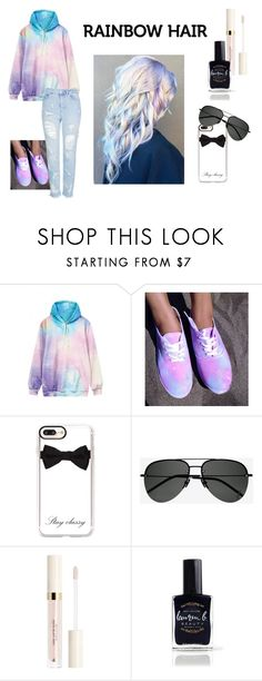 """Untitled #30"" by hiimavery ❤ liked on Polyvore featuring beauty, WithChic, Casetify, Yves Saint Laurent, Lauren B. Beauty, Topshop, hairtrend and rainbowhair"