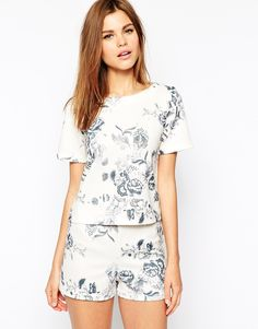 Warehouse+Drawn+Floral+Print+Co-Ord+Top