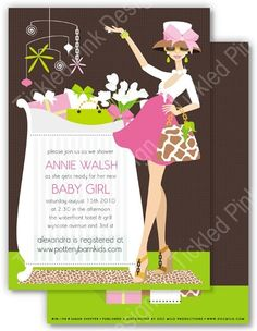 This bright colored Doc Milo baby shower invitation features a chic mom standing next to a crib full of gifts!#baby #babyshower  #pregnant #shower #babygirl #invite #invitation #card #docmilo