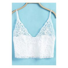SheIn(sheinside) White Spaghetti Strap Lace Lingerie ($7.90) ❤ liked on Polyvore featuring intimates, white, lace lingerie, white lingerie, white lace lingerie and lacy lingerie