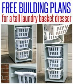 Get the free wood project plans for this tall laundry basket dresser. It& perfect for sorting laundry by load or family member and fits laundry baskets that are easily found at Wal-mart. This is a great beginner woodworking project! Tall Laundry Basket, Laundry Basket Dresser, Laundry Basket Storage, Laundry Room Organization, Storage Baskets, Laundry Decor, Laundry Tips, Laundry Organizer Diy, Laundry Rooms