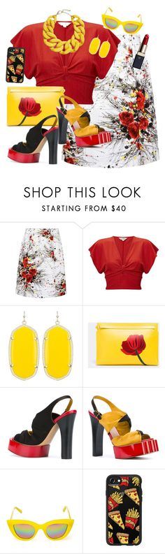 """""""Denim Floral Skirt"""" by dobesht ❤ liked on Polyvore featuring Prada, Miss Selfridge, Kendra Scott, Loewe, Vivienne Westwood, Quay, Casetify and Clé de Peau Beauté"""
