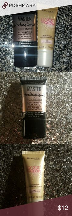Liquid Highlighters Maybelline Newyork Master Strobing Liquid Illuminating Highligher in- 100 Light Iridescent & Rimmel London Good To Glow Highlighter in- 001 Notting Hill Glow. Brand New Unused Liquid Highlighters. Maybelline Makeup Luminizer