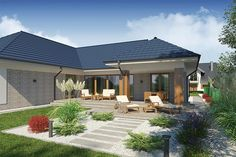 Projekt Domena 111 B 205,85 m2 - koszt budowy - EXTRADOM Planer, Bungalow, Patio, Outdoor Decor, Home Decor, Modern Interiors, Home Plans, Build House, Floor Plans