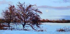 """Winter Moon Rise"" by Takeyce Walter #oilpainting #landscape #takeyce"