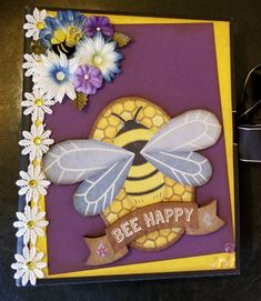 Design by Tandara Smith for Scrappin' in the City. Bumble Bees, Bee Happy, Card Ideas, Bunny, Greeting Cards, Scrapbook, City, Frame, Design