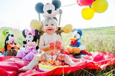 1st Birthday Photo Shoot Disney Mickey Mouse Themed ©Blue Amber Photography, NC