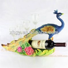 Resin Peacock Crafts Wine Bottle Holder Shelf With Wine Glass For Home Decoration Peacock Shaped Wine Rack Photo, Detailed about Resin Peacock Peafowl Crafts Red Wine Bottle Holder Shelf With Wine Glass photo 1/5