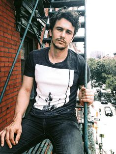 My name is James Franco and I like to sit on fire escapes and stare into camera lenses and act like I'm thinking about the deeper meaning of life. It's always amazing to me how much he looks like James Dean! Pretty People, Beautiful People, Beautiful Boys, Franco Brothers, T Shirt Photo, Terry Richardson, Raining Men, Attractive Men, Robert Downey Jr