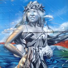 Poli'ahu the Kanaka Maoli (Hawaiian) snow goddess. Powwowhawaii art murals graffiti streetart