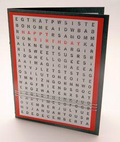 Happy Birthday Greeting Card Handmade Word Search by DesignsByCnC #birthdaycard #stampinup