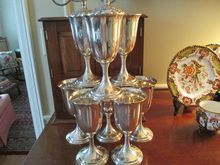 "Set Of 8, 6 3/4"" Tall Sterling S.Kirk & Son Inc(1925-1932 mark) Goblets, Hand Engraved ""G""."