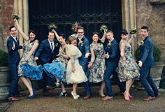 Fun group photo. A #colourful #vintage #real #wedding Dottie Photography