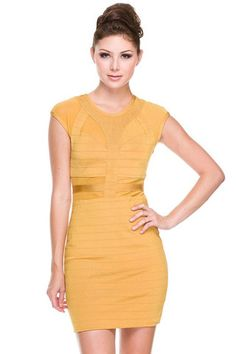 Top of Your Game Mesh Bandage Dress - Gold - $60.00 | Daily Chic Dresses | International Shipping