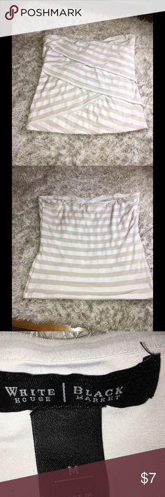 WHBM Striped Knit Tube Top Medium White House Black Market tube top.  White and light tan striped.  T-Shirt Knit.  Flat diagonal layers across front.  Strapless, tube top style.  Light pilling from normal wash and wear, otherwise good condition.   Important:   All items are freshly laundered as applicable prior to shipping (new items and shoes excluded).  Not all my items are from pet/smoke free homes.  Price is reduced to reflect this!   Thank you for looking! White House Black Market Tops