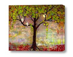 Canvas Large Art Print of Owls in a Tree, For Couples 24X20 or 20X16 Wall Decor Giclee Moonlite Moon Light