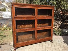 Antique-Macey-3-Stack-Barrister-Bookcase-Double-wide-Quartersawn-Tiger-Oak