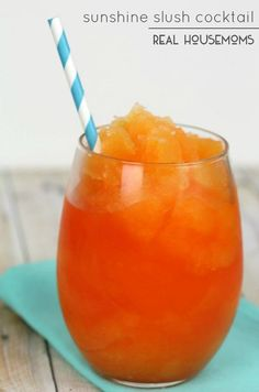 Sunshine Slush Cocktail is a light and refreshing grown up version of your kid's favorite drink!
