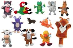 WHAT DOES THE FOX SAY? Puppet Set - Plush hand puppets (except as shown): Dog, cat, bird, mouse, cow, frog, elephant, duck, fish, seal (finger puppet), horse, fox. Set of 12 to dance and speak with the book or the YouTube hit!