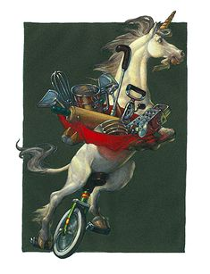 """""""Unicorn upon his unicycle carried unusual (yet useful)  utensils in an upside-down umbrella."""""""