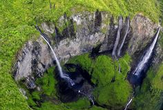 """The Trou de Fer (""""Iron Hole"""") is a canyon on Reunion Island, off the coast of Madagascar in the Indian Ocean. Travel Around The World, Around The Worlds, Photos Hd, Drops In The Ocean, Image Hd, Les Cascades, Maurice, Luxury Holidays, Jolie Photo"""