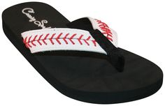 Cocomo Soul Baseball Stitch Leather Flip Flops (9). High Quality. Leather Baseball Stitch. Cocomo Soul Designed. White Leather with Red Stitching. Perfect for the Baseball MOM.