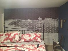 """Brick paneling (Lowes) on main wall then a """"chalk paint"""" wash (not latex), etc.see instructions & final result. Painted Brick Walls, Faux Brick Walls, Brick Paneling, Brick In The Wall, Paneling Painted, Paint Brick, Bedroom Wall, Bedroom Ideas, Master Bedroom"""