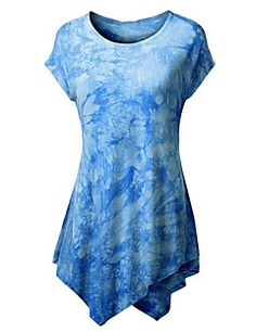 Mulheres Camiseta Happy-Hour Moda de Rua Verão,Color Block Azul / Rosa…