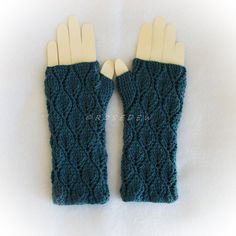 Crochet Leafy Fingerless Mitts in Teal Large by R0SEDEW on Etsy
