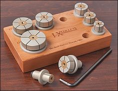 I should be able to make these from wood, cap screw and a tee nut. Beall I-X (Internal Expanding) Collet Set - Woodworking Woodturning Tools, Lathe Tools, Wood Tools, Wood Turning Lathe, Pen Turning, How To Make Rings, Lathe Projects, Fixation, Wood Rings