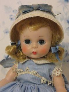 A so mint Alex-kin BKW in a blue cotton dress Antique Dolls, Vintage Dolls, Vintage Madame Alexander Dolls, Revlon, Cotton Dresses, Baby Dolls, Composition, Crochet Hats, Vogue