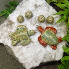 How much fun will it be designing a special OOAK necklace with these turtles? The hand formed three piece sets were fired, glazed and refired in my home kiln.