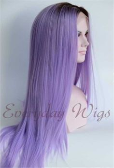 "24"" Black/Lavender Ombre Color Straight Synthetic Lace Front Wig-edw1030"