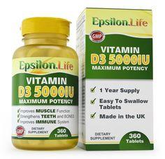 Vitamin D3 5,000 IU - 1 Year Supply (360 Tablets)