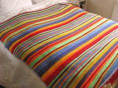 Rainbow Stripe Bonanza Blanket   AllFreeKnitting.com