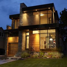 modern brick house with two story window portland | Modern House Facades Design Ideas, Pictures, Remodel, and Decor