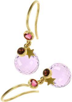Marie-hélène De Taillac Keeper Earrings in 22k Yellow Gold in Pink