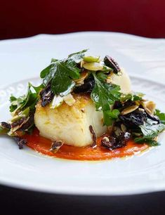 Roasted cod & romesco sauce with olive and almond dressing Try this Italian-inspired recipe by Paul Hood, head chef at Hai Cenato, Jason Atherton's latest restaurant. It's quick, easy and full of flavour. perfect for a dinner party showstopper Cod Recipes, Seafood Recipes, Cooking Recipes, Party Recipes, Sauce Recipes, Gourmet Cooking, Sushi Recipes, Healthy Recipes, Italian Fish Recipes
