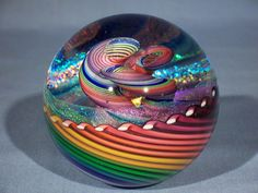 Marbles: Hand Made Art Glass James Alloway Dichroic Rainbow Vortex#1921  3.3inch #Contemporary