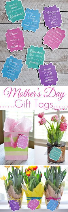 Mother's Day Gift Tags: Free Printables ~ featuring mom quotes that range from sentimental to humorous | FiveHeartHome.com