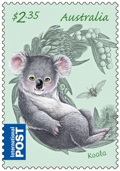 Koala Postage Stamp from Australia. Is it me or does this koala look a little sinister? Art Postal, Postage Stamp Art, Australian Animals, Love Stamps, Fauna, Stamp Collecting, Mail Art, My Stamp, Oeuvre D'art