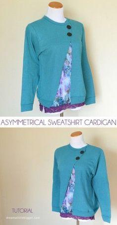 Sweatshirt into a cardigan - Step by step Photo tutorial - Bildanleitung