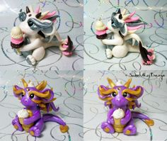 Neapolitan Ice Cream and Cupcake Dragons by SweetMayDreams.deviantart.com on @deviantART