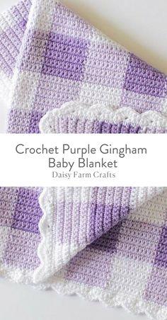 Free Pattern - Crochet Purple Gingham Baby Blanket