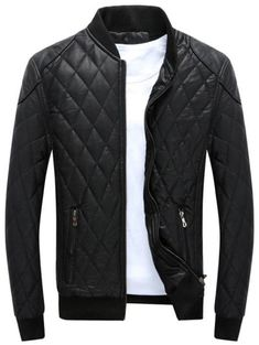 SHARE & Get it FREE | Zip Up Diamond Faux Leather Bomber Jacket - Black MFor Fashion Lovers only:80,000+ Items • New Arrivals Daily Join Zaful: Get YOUR $50 NOW!
