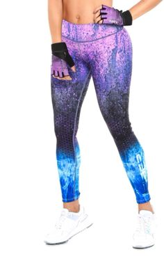 Fiber - Black Purple and Blue 2 Leggings Workout Clothes Cheap, Workout Clothing, Best Leggings, Tops For Leggings, Athletic Outfits, Athletic Clothes, Workout Wear, Workout Pants, Cute Gym Outfits